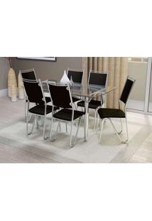 Conjunto De Mesa Elba Com 6 Cadeiras Londres Corino Preto