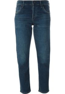 Citizens Of Humanity Calça Jeans Cropped Slim Fit 'Elsa' Com Cintura Média - Azul