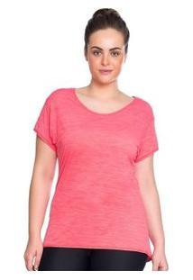 Camiseta Baby Look Rosa Marcyn Fitness Plus Size Rosa - Feminino-Rosa