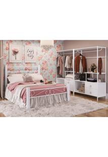 Quarto Estilo Provençal Com Cama De Casal E Closet Bella Siena Móveis Branco
