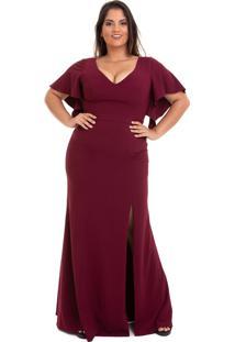 Vestido Longo Izad Em Crepe Decote V Plus Size Vinho