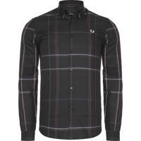 Camisa Masculina Enlarged Check - Preto 5ab3097301736