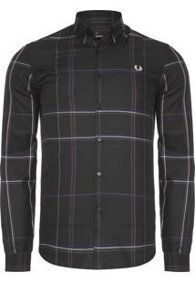 Camisa Masculina Enlarged Check - Preto