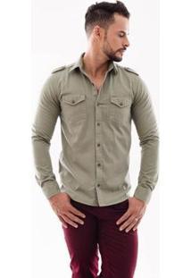 Camisa Amil Paris Slim Manga Longa I Masculina - Masculino-Cinza