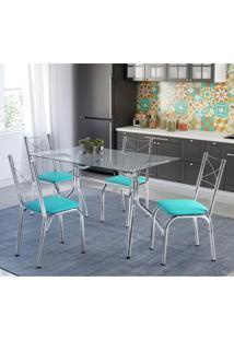 Conjunto De Mesa Tampo Em Vidro Com 4 Cadeiras Búzios Móveis Brastubo Verde/Cromado