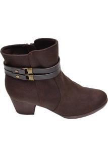 Bota Feminina Ankle Boot Piccadilly Marrom Escuro