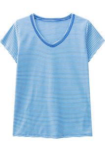 Blusa Lecimar Em Meia Malha Alto Verão Listrada Gg Azul