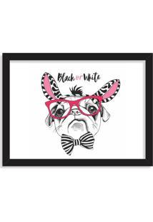 Quadro Decorativo Black Or White Pug Preto - Médio