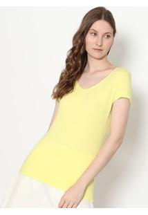 """Blusa Com Decote """"V"""" - Amarela - Enfimenfim"""