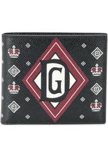 Dolce & Gabbana Carteira Dobrável Com Estampa De Coroas - Preto