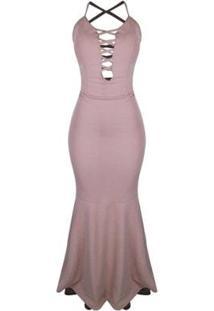 5f79cdf122 ... Vestido Otd Alcinha Casual Tubinho Sereia Decote Tiras Frente -  Feminino-Rosa