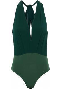 Body Kika Simonsen Decote Seda Verde - Verde/Verde Militar/Verde Oliva - Feminino - Seda - Dafiti