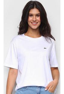 Camiseta Lacoste Boy Fit Feminina - Feminino-Branco