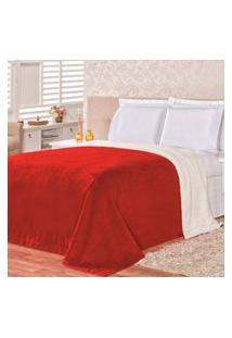 Cobertor Malmo Vermelho Dupla Face Queen - Tecido Sherpa E Manta Microfibra