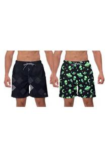 Kit 2 Shorts Praia Moda Preto Space Estampado Piscina Esporte Surf Banho W2
