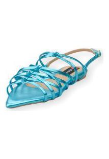 Sandalia Love Shoes Rasteira Bico Folha Trançado Metalizado Azul