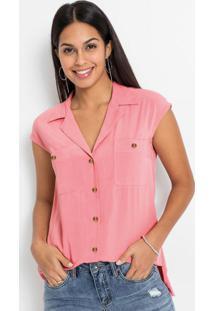 Blusa Com Abotoamento Frontal Rosa Claro