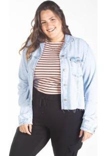 Jaqueta Jeans Cropped Plus Barra Desfiada Besni Feminina - Feminino