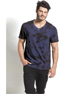 Camiseta Azul Com Bolso E Estampa Actual