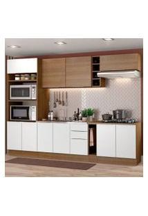 Cozinha Completa Madesa Stella 290001 Com Armário E Balcão Rustic/Branco Cor:Rustic/Branco/Rustic