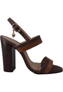 Sandália Couro Sapatos E Botas Salto Alto Bloco Tira Dupla Feminino - Feminino-Marrom Claro+Marrom Escuro