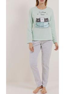 Pijama Longo Feminino Verde/Cinza