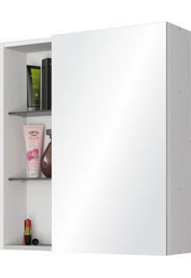 Espelheira Nancy C/ Espelho Deslizante Branco Móveis Bechara