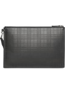 Burberry Perforated Check Leather Zip Pouch - Preto
