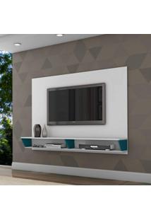 Painel Para Tv Até 47 Polegadas 2 Nichos Leblon Retrô Siena Móveis Branco/Azul