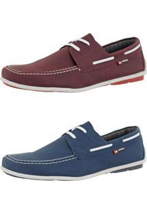 Kit Dockside Casual Sintético Sapatofran Lançamento Azul E Bordô Cr Shoes
