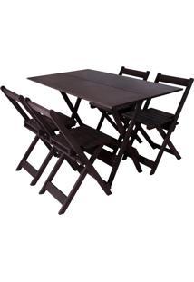 Conjunto Gourmet Dobrável Mesa 4 Cadeiras Entalharte 120.4