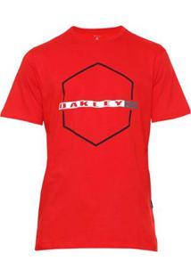 Camiseta Oakley Crossing Hex Tee Masculina - Masculino-Vermelho