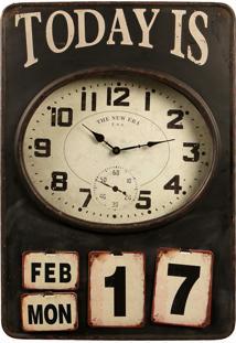 Relógio De Parede Decorativo Good Days Com Calendário De Metal