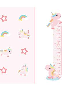 Adesivo De Parede Quartinhos Régua Unicórnio E Antiderrapante Piso Kit Decoração Rosa