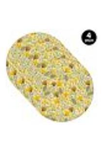 Sousplat Mdecore Floral 35X35Cm Amarelo 4Pçs
