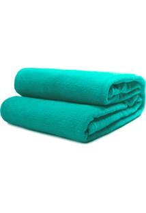 Cobertor Solteiro Camesa Microfibra Liso Verde Petróleo