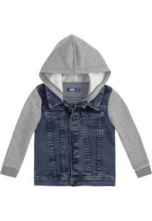 Jaqueta Infantil Bebê Menino Em Moletom Jeans Com Capuz E Mangas Em Moletom Puc