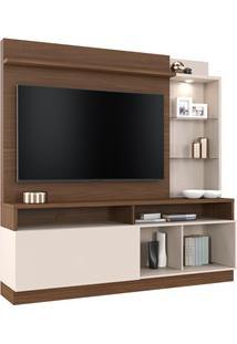 Estante Home Theater Para Tv Até 60 Pol. Leblon Nogueira Real/Off Whit