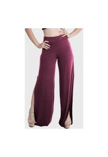 Calça Pantalona Laterais Abertas Cintura Alta Lynnce Marsala