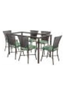 Jogo De Jantar 6 Cadeiras Turquia Tabaco A01 E 1 Mesa Retangular Sem Tampo Ideal Para Área Externa Coberta
