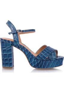 Luiza Barcelos Sandália Midi De Couro Croco - Azul