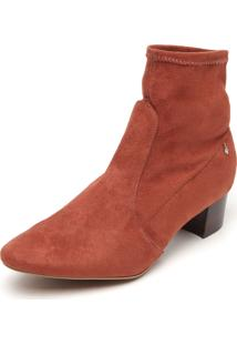 Ankle Boot Couro Ellus Camurça Caramelo