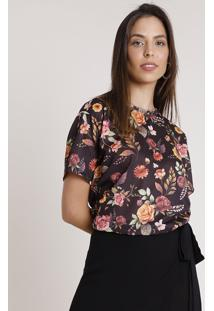 Blusa Feminina Ampla Estampada Floral Manga Curta Decote Redondo Preta