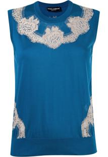 Dolce & Gabbana Blusa De Seda Com Renda - Azul