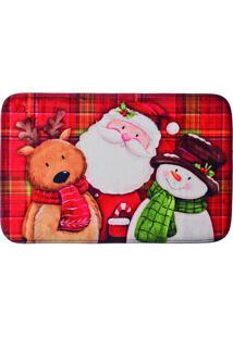 Tapete Papai Noel & Xadrez- Vermelho & Branco- 2X60Xcromus