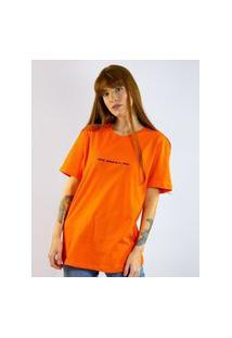 Camiseta Bordado Frase Laranja, Cor: Laranja, Tamanho: Pp Laranja