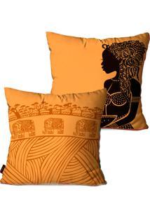 Kit Pump Up Com 2 Capas Para Almofadas Decorativas Laranja Africa 45X45Cm - Laranja - Dafiti