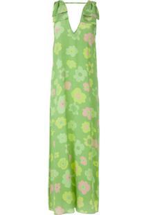 Adriana Degreas Vestido Midi De Seda Estampado - Verde
