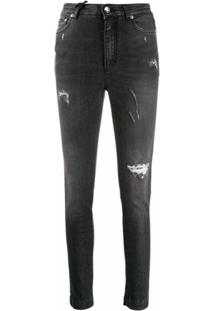 Dolce & Gabbana Calça Jeans Slim Com Efeito Destroyed - Preto