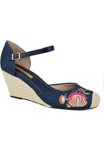 Sandália Jeans Moleca Feminino - Feminino-Azul